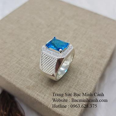 Nhẫn nam mặt đá xanh NN050
