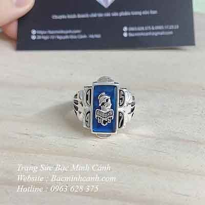 Nhẫn Mỹ đá xanh bằng bạc – NN012