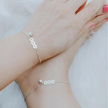 Bộ trang sức lắc tay và lắc chân Kim Tiền mix chuông BTS035