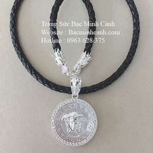 Dây da bọc bạc mặt Versace DCN041