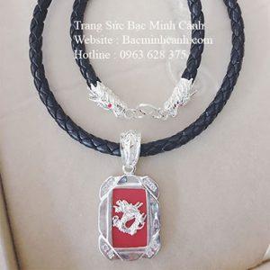 Dây da bọc bạc mặt rồng đá đỏ DCN043