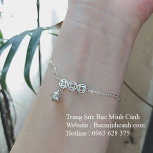 Lắc tay kim tiền bạc mix chuông LTNU140