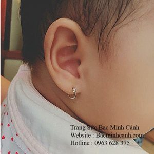 Bông tai trẻ em sơ sinh bằng bạc BT106