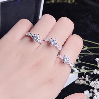 Nhẫn bạc nữ đá cao 6 chấu NNU077