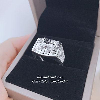 Nhẫn bạc nam hình ngựa cho người tuổi ngọ NN065