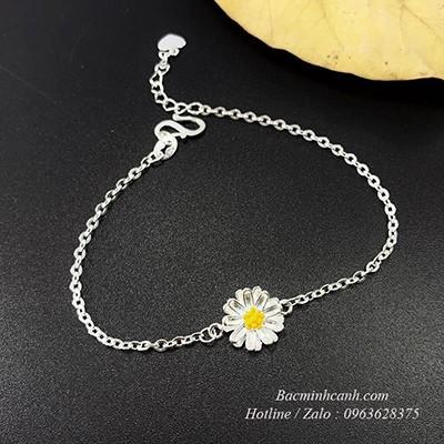 Lắc tay hoa cúc hoạ mi bằng bạc LTNU067