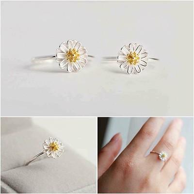 Nhẫn bạc hoa cúc hoạ mi bằng bạc NNU051