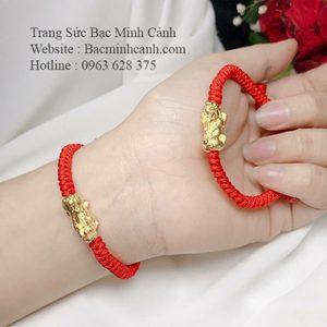 Vòng Tay Tỳ Hưu Bạc Xi Vàng chỉ đỏ LTNU150