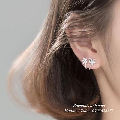 Bông tai hoa xoắn bạc BT148