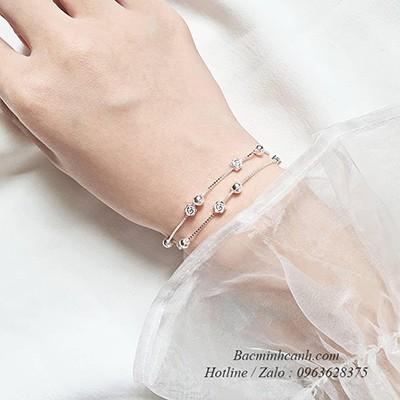 Vòng tay bạc hoạ tiết hoa dây đôi LTNU115