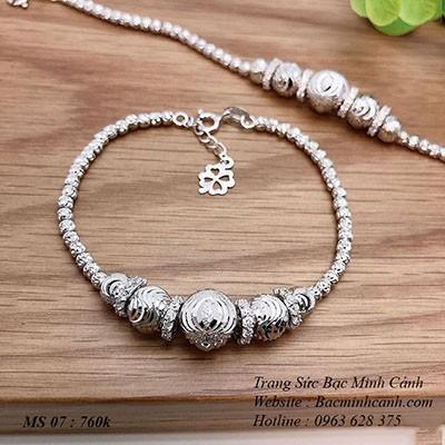 Lắc tay nữ vòng bi bạc xi bạch kim LTNU181