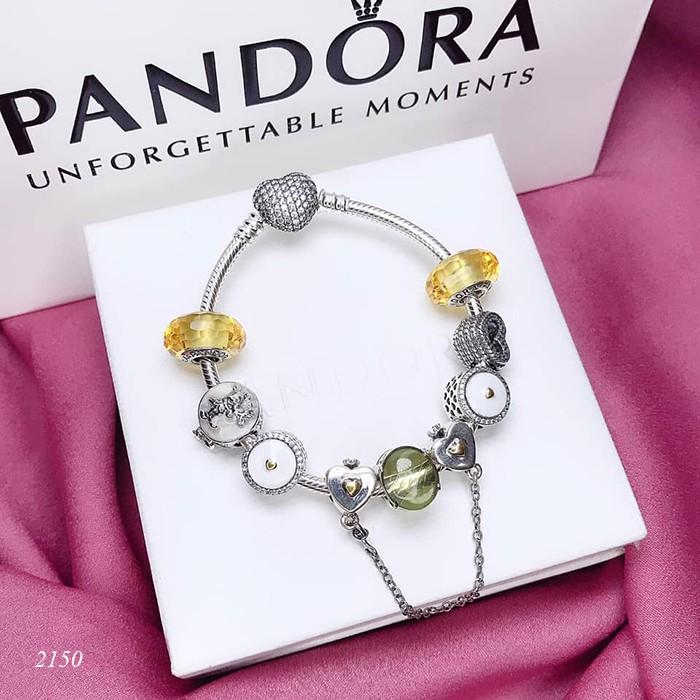 Vòng tay Pandora bằng bạc mix charm màu vàng