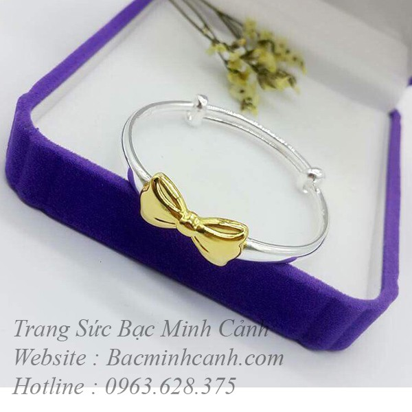 Lắc tay bạc hình nơ xi vàng cho bé TE132