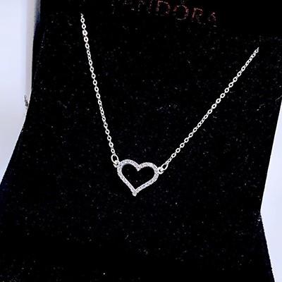 Vòng cổ bạc nữ hình trái tim đính đá DCNU232