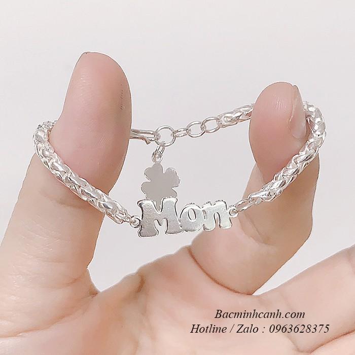 Lắc bạc cắt chữ theo tên cho bé bạc ta TE214