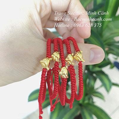 Vòng tay charm Hồ Ly chỉ đỏ vàng 10K LTNU164