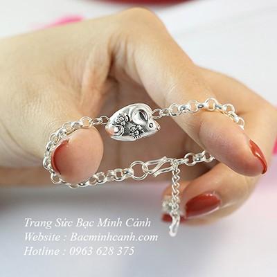 Vòng tay bạc charm chuột cho bé tuổi Tý TE146