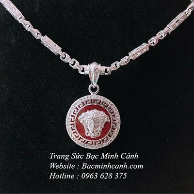 Dây chuyền bạc nam mặt Versace đá đỏ DCN066