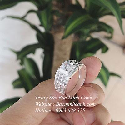 Nhẫn bạc nam mặt đá trắng NN060