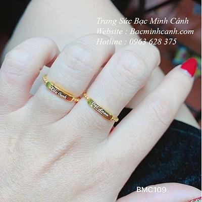 Nhẫn xoắn khắc chữ vàng 10K NNU122
