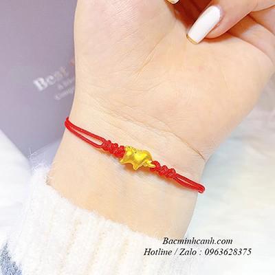 Vòng tay chỉ đỏ Kim Sửu vàng 24k LTNU218