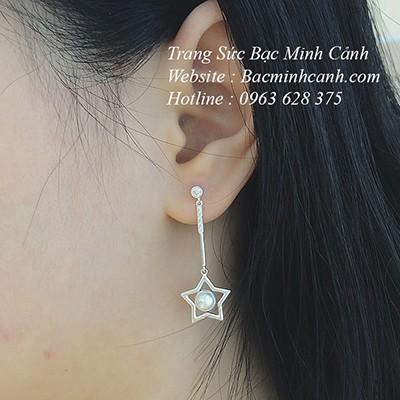 Khuyên tai ngôi sao ngọc trai dáng dài BT150