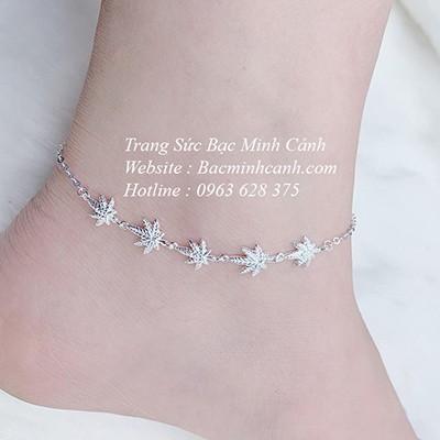 Lắc chân bạc nữ lá phong LCNU093