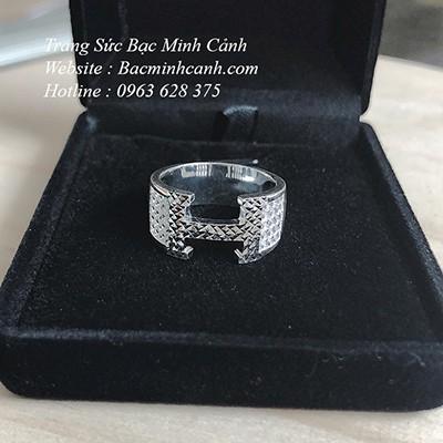 Nhẫn bạc nam Hermes chữ H bằng bạc NN064