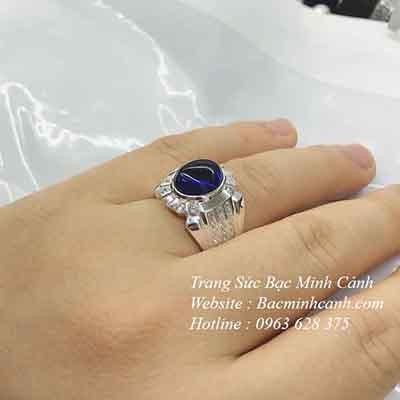 Nhẫn bạc nam đá xanh cô ban NN061