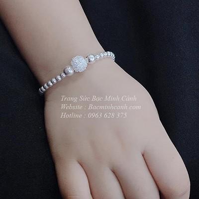 Lắc bạc hình bi đính đá cho bé TE175