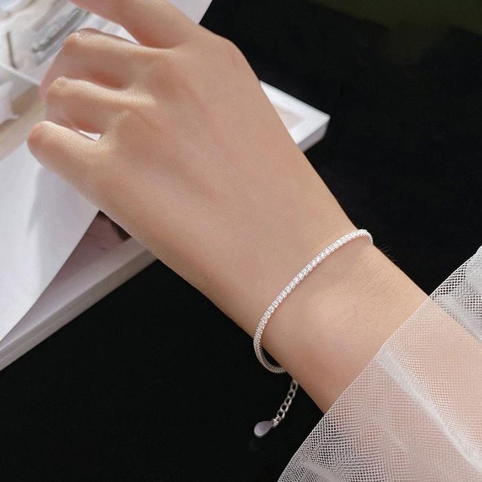 Lắc tay dải đá nhỏ lấp lánh bạc 925 LTNU249