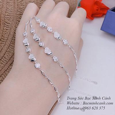 Lắc tay nữ bạc 925 trái tim kép TLNU177