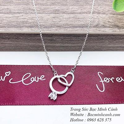 Dây chuyền bạc nữ trái tim lồng chiếc nhẫn DCNU215