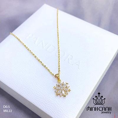 Dây chuyền vàng 10K hình hoa đính đá DCNU211