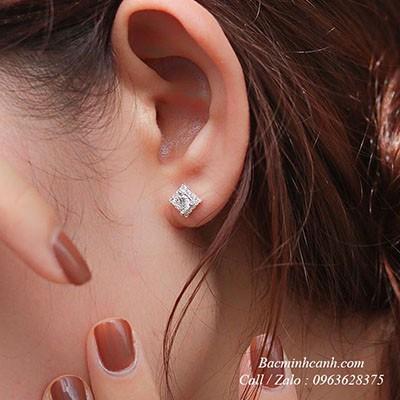 Bông tai bạc nữ hình vuông đính đá BT188