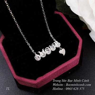 Dây chuyền Amour bằng bạc đính đá DCNU225