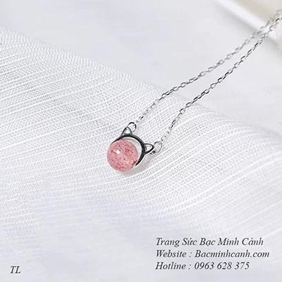 Dây chuyền tai mèo đá thạch anh hồng DCNU221