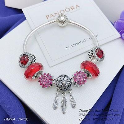 Vòng tay Pandora bằng bạc charm đỏ