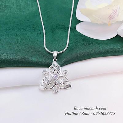 Dây chuyền mặt hoa bi xoay bạc Ý S925 DCNU254