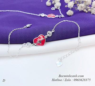 Lắc tay trái tim đỏ bằng bạc LTNU203