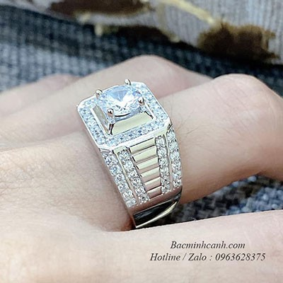 Nhẫn nam bạc Ý S925 xi bạch kim NN068