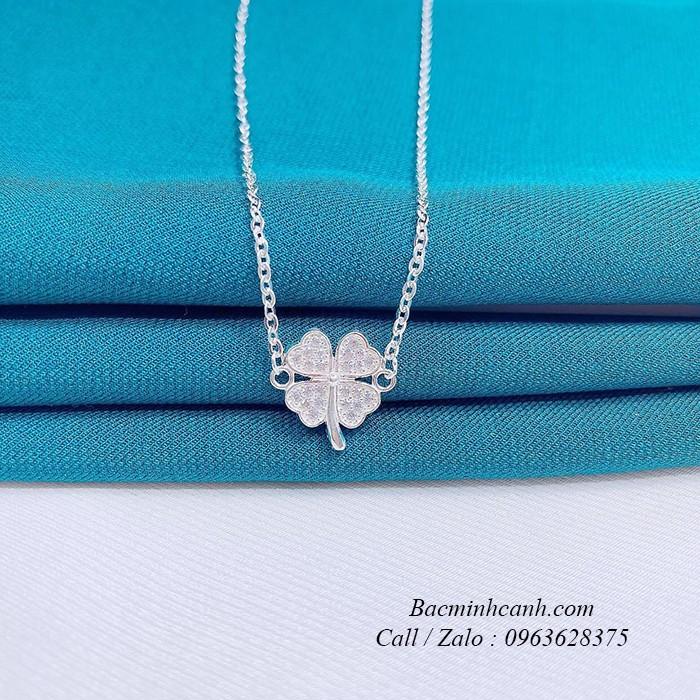 Vòng cổ bạc nữ cỏ 4 lá may mắn DCNU237
