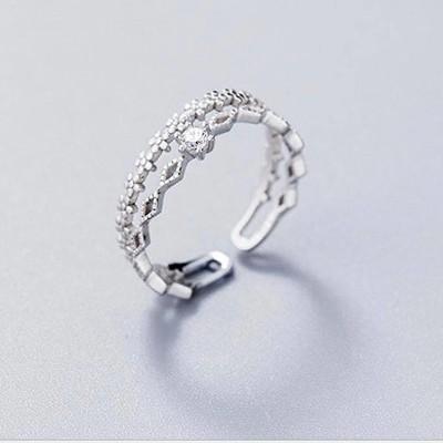 Nhẫn bạc nữ dạng hở phong cách Hàn Quốc NNU142