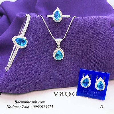 Bộ trang sức bạc đính đá xanh dương BTS078
