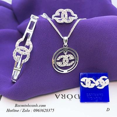 Bộ trang sức bạc Chanel cao cấp BTS079