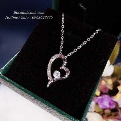 Dây chuyền bạc hình trái tim khắc tên DCNU262