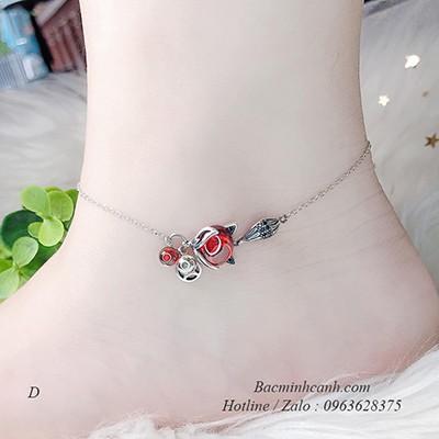 Lắc chân bạc nữ hồ ly đỏ LCNU110