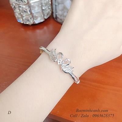 Vòng tay đôi chim thiên nga bạc LTNU215