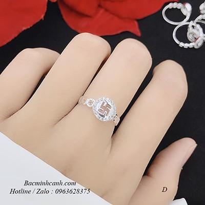 Nhẫn bạc nữ chữ vạn may mắn NNU150