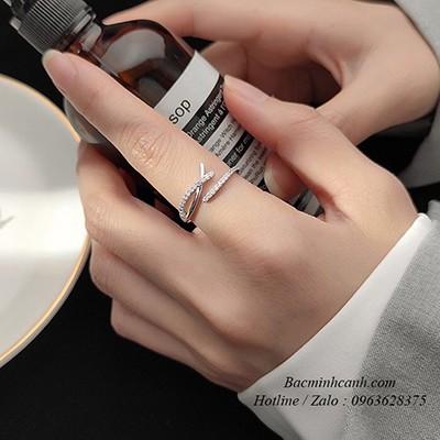 Nhẫn bạc nữ chữ X đính đá Freesize NNU153